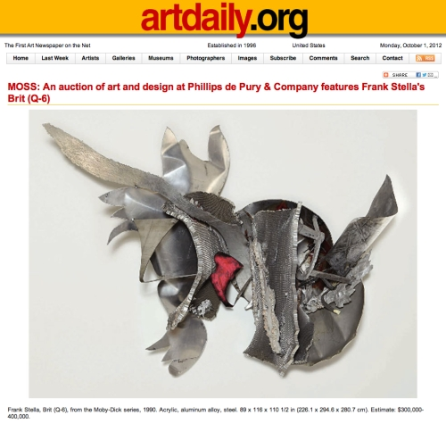 Today's artdaily features Frank Stella's Brit (Q-6), Lot 67 in Moss auction at Phillips